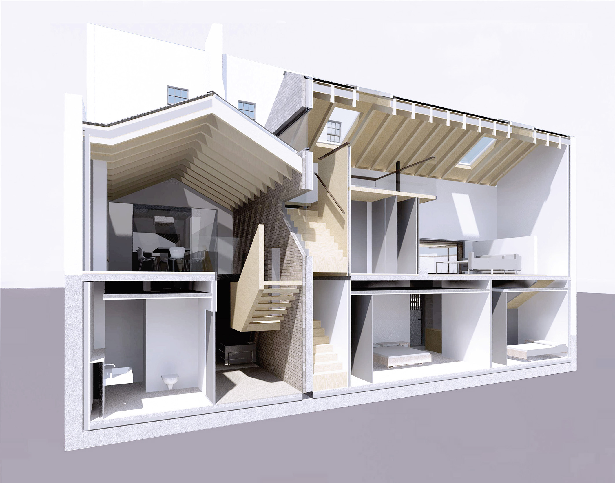 Hidden House Chelsea Knightsbridge LTS Architects sectional perspective
